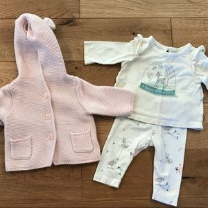 Baby Girl GAP NB & 0-3 Mo Hooded Sweater & outfit